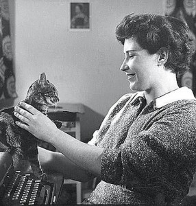 Not me! Doris Lessing with ancient pre-internet cat